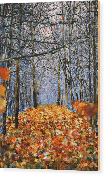 End Of Autumn Wood Print