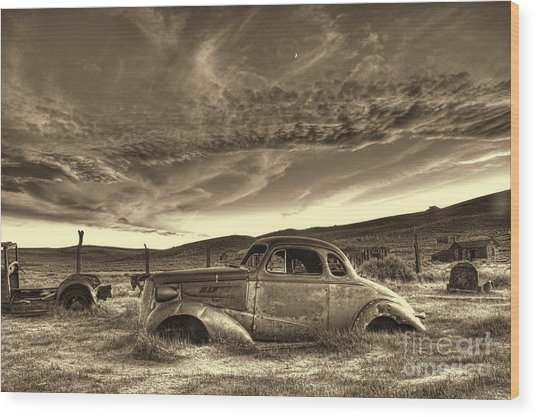 End Of The Road Wood Print