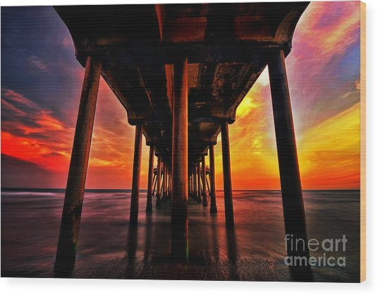 Endless Sunset Wood Print