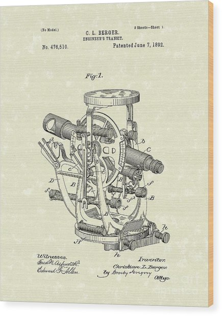 Engineer's Transit 1892 Patent Art Wood Print