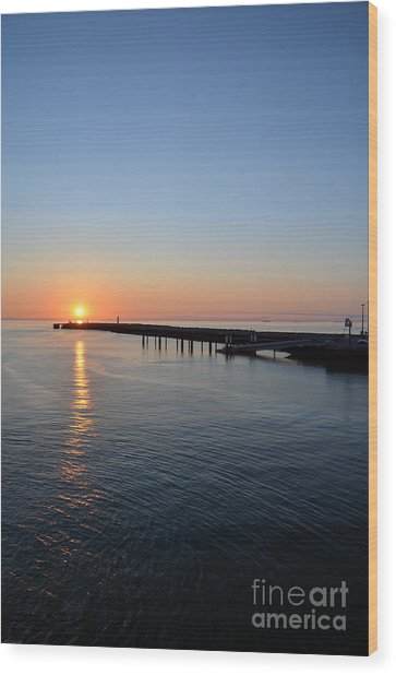 English Channel Sunset Wood Print