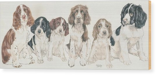 English Springer Spaniel Puppies Wood Print
