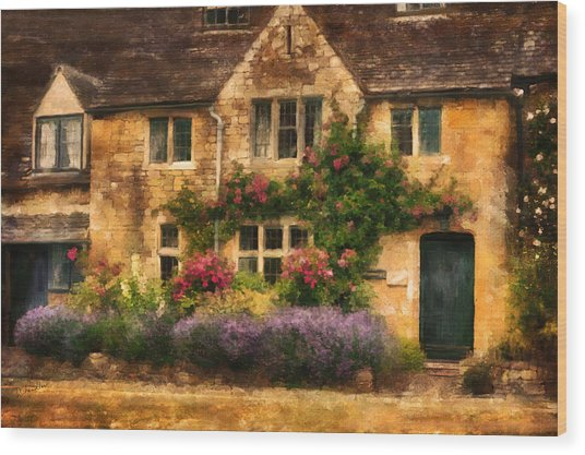 English Stone Cottage Wood Print