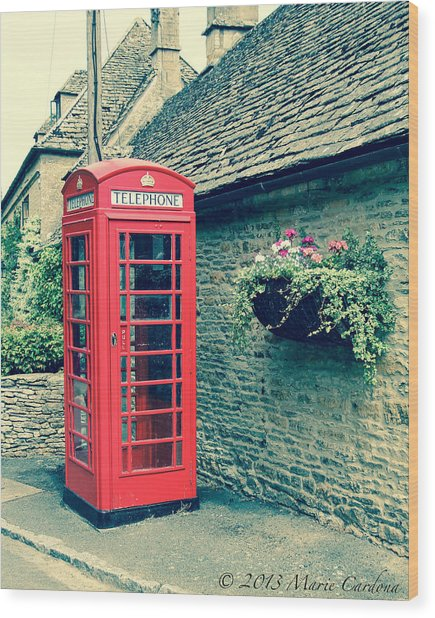English Telephone Box Wood Print by Marie  Cardona