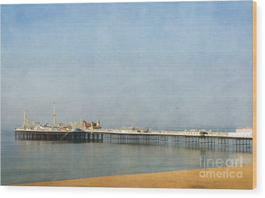 English Victorian Seaside Pier - Textured Wood Print
