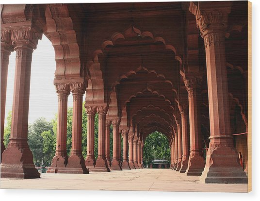 Engrailed Arches Red Fort - New Delhi Wood Print