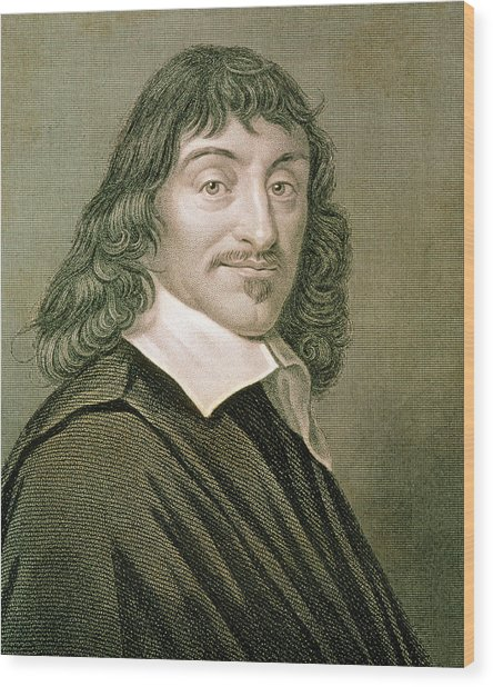 Engraving Of French Mathematician Rene Descartes Wood Print