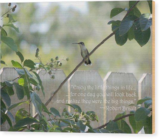 Hummingbird On Crepe Myrtle Wood Print