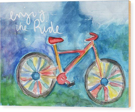 Enjoy The Ride- Colorful Bike Painting Wood Print