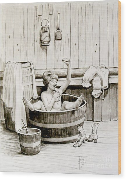 Bawdy Lady Bath - 1890's Wood Print