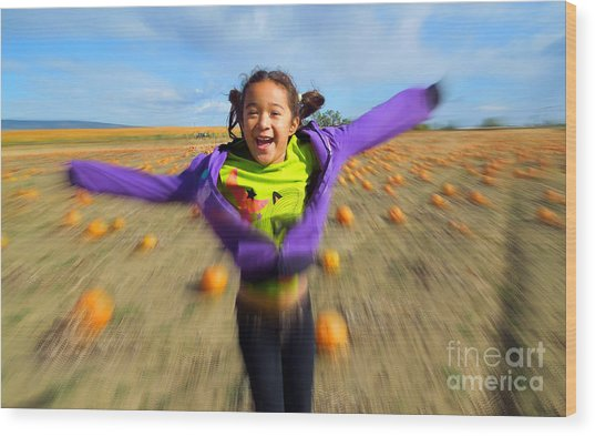 Enjoying Pumpkin Patch Wood Print