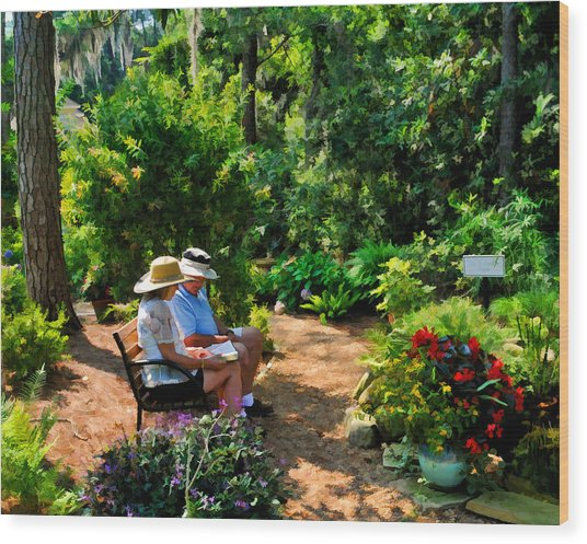Loving Couple Enjoying Their Prayer Garden Wood Print