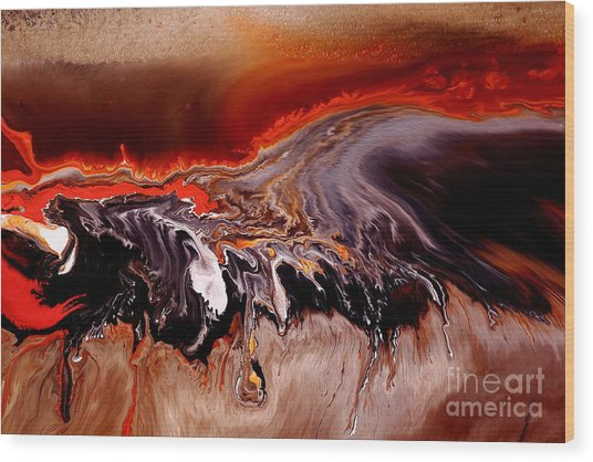 Enormous Power Wall Red Abstract Art By Kredart Wood Print