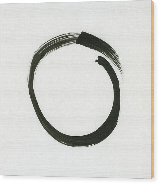 Enso #1 - Zen Circle Minimalistic Black And White Wood Print