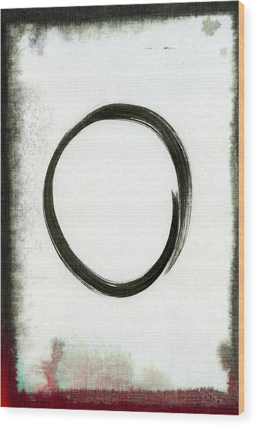 Enso #2 - Zen Circle Abstract Black And Red Wood Print