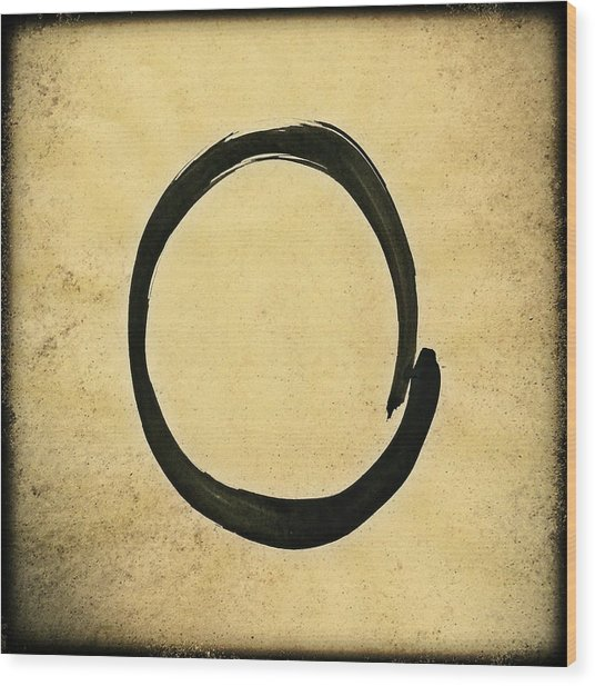 Enso #4 - Zen Circle Abstract Sand And Black Wood Print