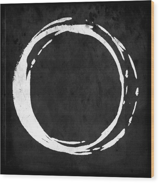 Enso No. 107 White On Black Wood Print