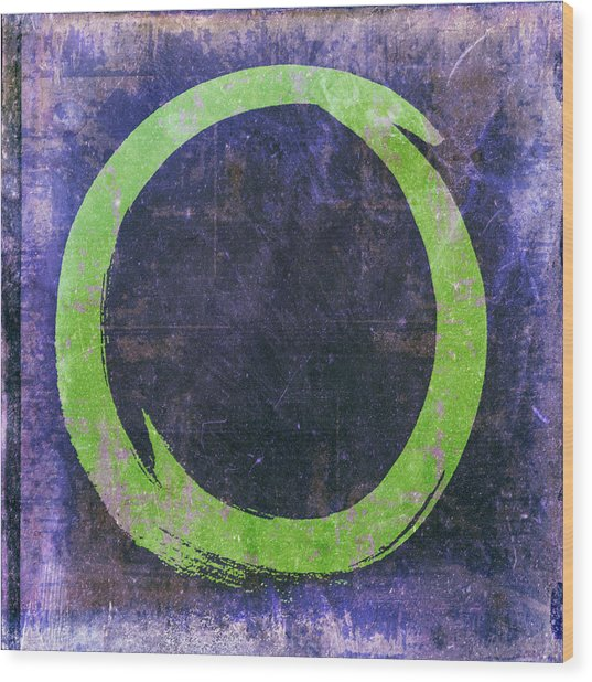 Enso No. 108 Green On Purple Wood Print
