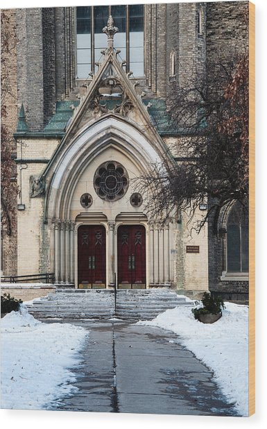 Wood Print featuring the photograph Enter In - Metropolitan United Church Toronto - Colour by Rosemary Legge