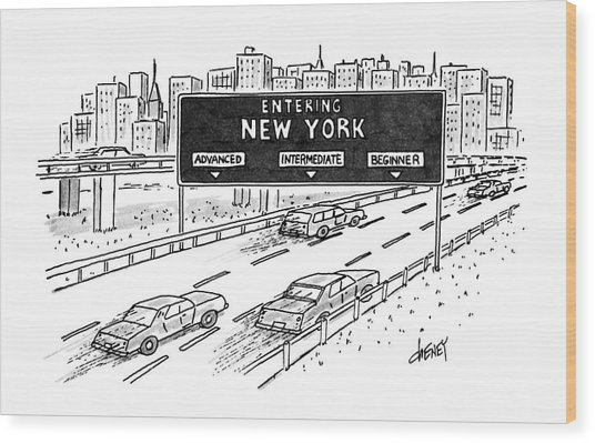 Entering New York: Beginner Wood Print