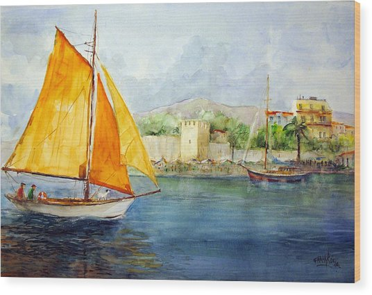 Entering The Port - Foca Izmir Wood Print