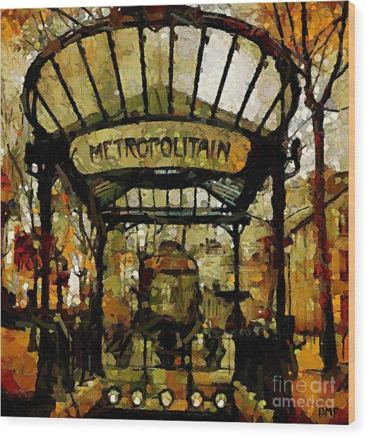 Entrance To The Paris Metro Wood Print
