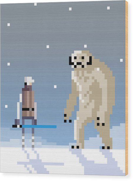 Epic Battle In The Snow Wood Print