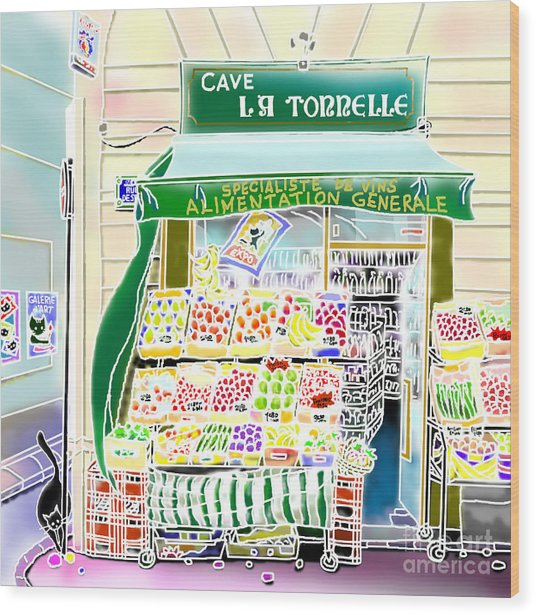 Wood Print featuring the digital art Epicerie In Paris by Hisayo Ohta