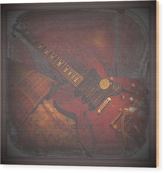 Epiphone Riveria Archtop Guitar Wood Print by Rosemarie E Seppala