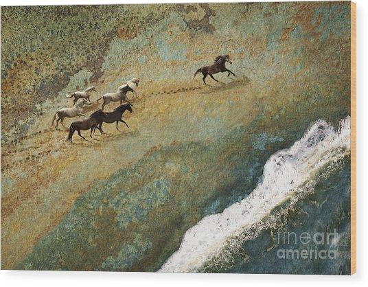 Equine Seascape Wood Print