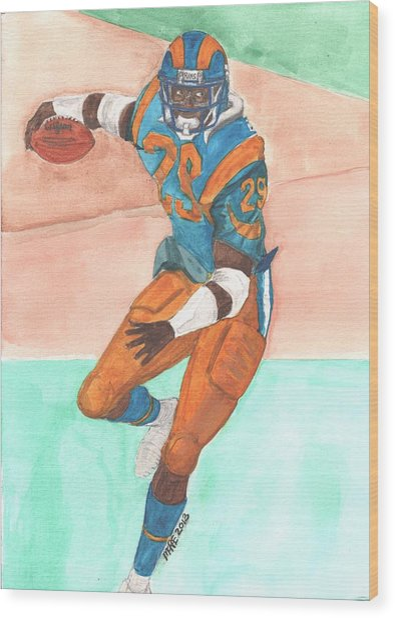 Eric Dickerson Los Angeles Rams Wood Print by Paul McRae