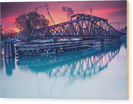 Erie Canal Swing Bridge Wood Print