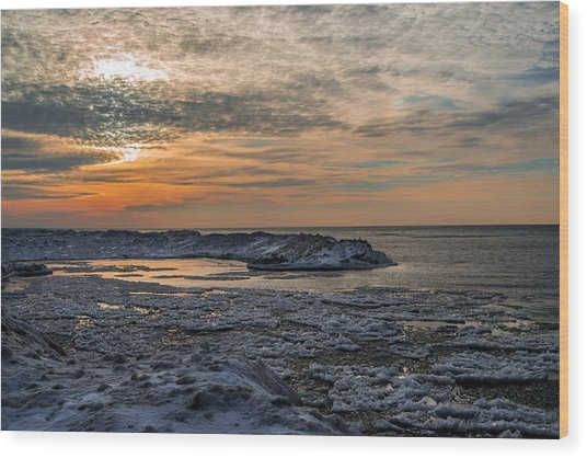 Erie Ice Dunes Wood Print