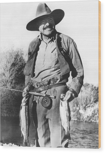 Ernest Hemingway Fishing Wood Print