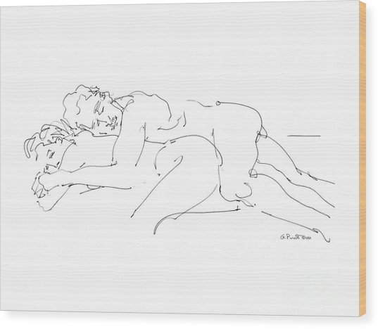 Erotic Art Drawings 2 Wood Print