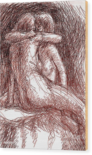 Erotic Drawings 19-2 Wood Print