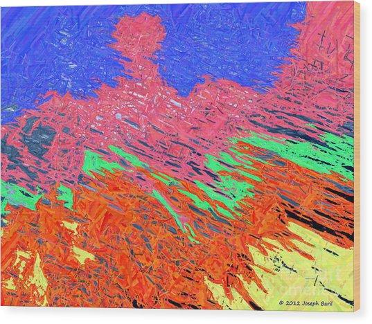 Erupting Lava Meets The Sea Wood Print