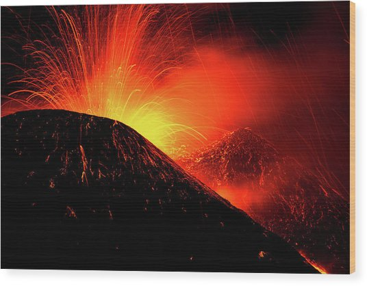 Eruption By Night Wood Print