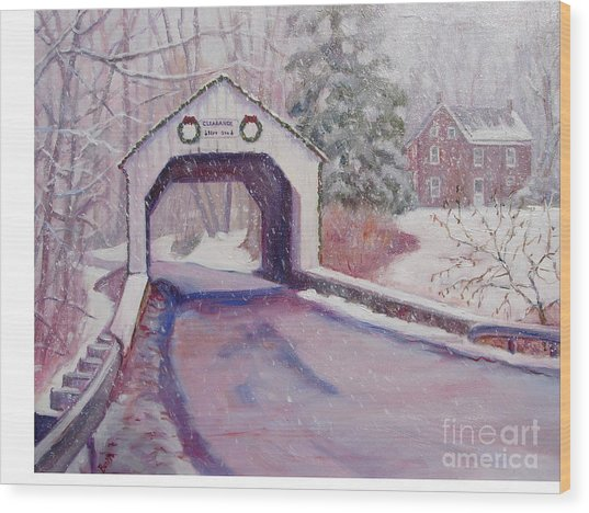Erwinna Covered Bridge Wood Print