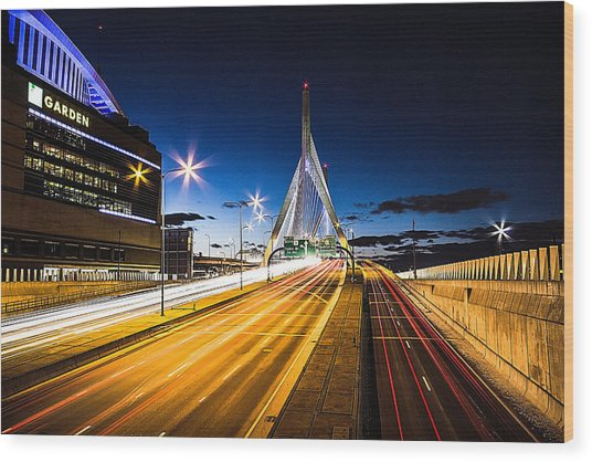 Escape To Boston Wood Print