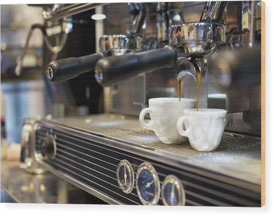 Espresso Machine Pouring Coffee Into Wood Print by Kathrin Ziegler