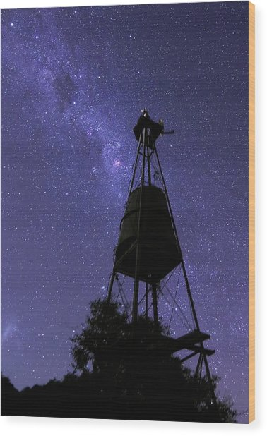 Eta Carina Nebula And Water Tower Wood Print by Luis Argerich