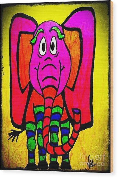 Ethel The Elephant Wood Print