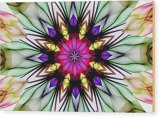 Ethereal Colors Mandala Wood Print