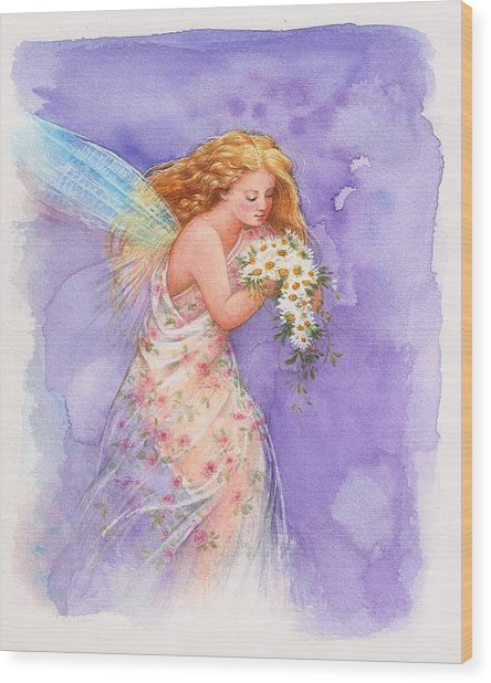 Ethereal Daisy Flower Fairy Wood Print