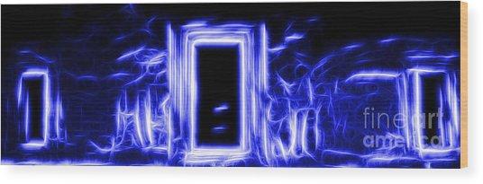 Ethereal Doorways Blue Wood Print