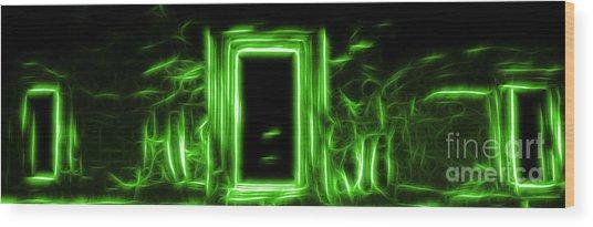 Ethereal Doorways Green Wood Print