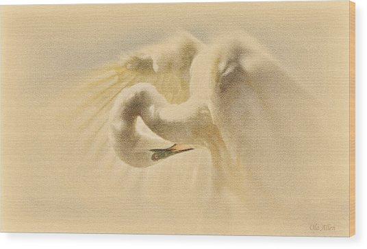Ethereal Egret Wood Print