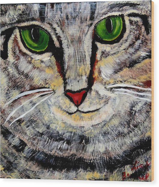 Ethical Kitty See's Your Dilemma Wood Print