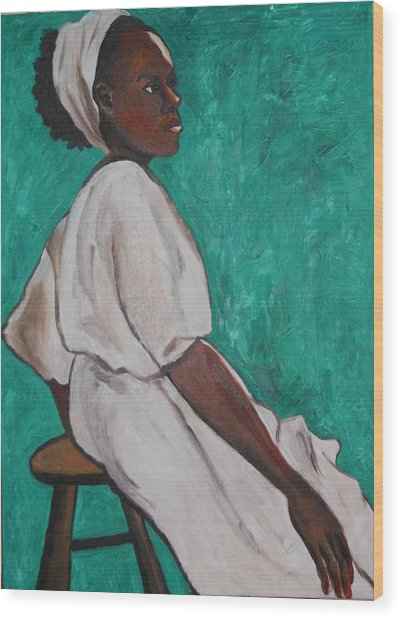 Ethiopian Woman In Green Wood Print